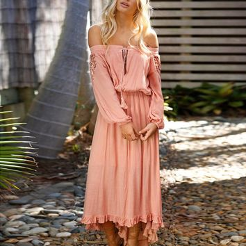 2018 Dresses Women Sexy Solid Dress Off Shoulder Lace Up Patchwork Elastic Band Long Sleeve Female vestidos dress de festa