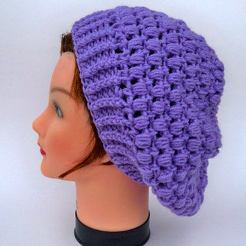 Women's Crochet Tam - Puff Stitch Hat In Purple - Slouchy Beret - Wool Beanie - Fall / Winter Fashion - Warm Headwear