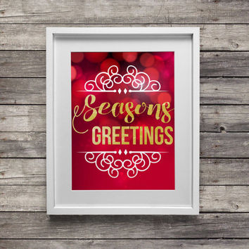 Printable Christmas Decor | Seasons Greetings Print | Christmas Decor | Christmas Art | 8x10 Printable Art