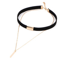 Black Leather Velvet Chokers Women Double Gold Plated Link Chain Pendant Necklaces Tassel Statement Charm Accessories Jewelry