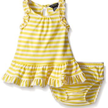 Nautica Baby Girls Drop Waist Stripe Dress with Ruffle Details