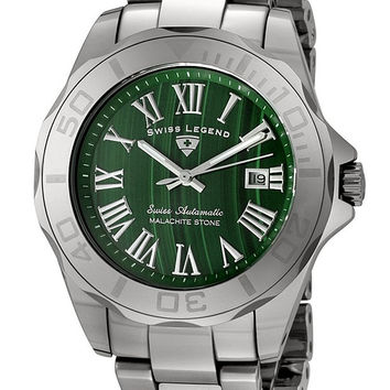 Swiss Legend Men's 18010A-88 Tungsten Collection Automatic Green Malachite Stone Dial Watch