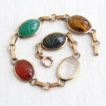 Vintage 12k Yellow Gold Filled Scarab Bracelet - Retro 1960s Carved Semi Precious Colorful Stone Egyptian Revival Jewelry