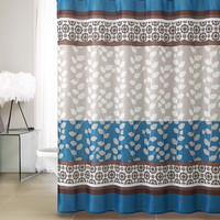 "Riley Taupe/ Blue Embossed Microfiber Shower Curtain 72""x 72"""