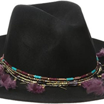 'ale by alessandra Women's Telluride Adjustable Floppy Felt Hat with Feather Chain Trim, Black, One Size