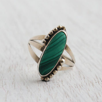Vintage Sterling Silver Malachite Ring - Size 9 Studded Semi Precious Stone Native American Jewelry / Long Oval