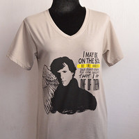 SHERLOCK bbc I may be on the side of the angels, but don't think for one second that I am one of them T-shirt  Short Sleeve