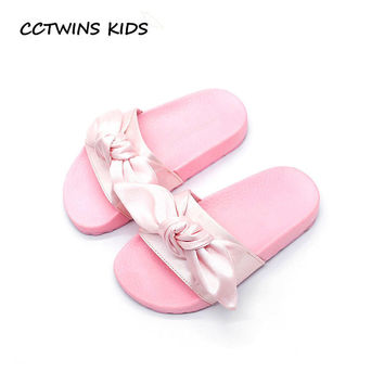 CCTWINS KIDS 2017 Summer Casual Beach Sandal Baby Girl Black Mule Toddler Bow Children Slide Kid Fashion Slip On Slipper B938