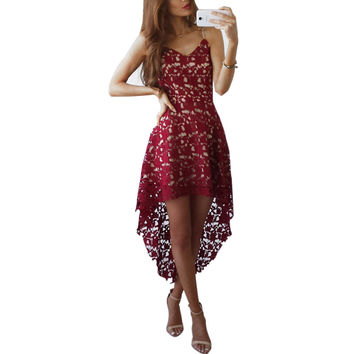 Plus Size Lace Dress Women Cut Out Dresses Sleeveless Asymmtrical Beach Summer Dress 2017 Sexy Wedding Party Dress Vestido GV527