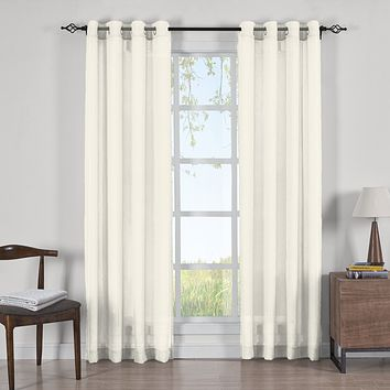 IVORY 50x96 Abri Grommet Crushed Sheer Curtain Panels (Set of 2)