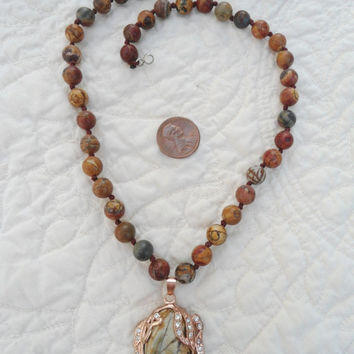 Stunning Copper and Jasper Pendant Fancy Necklace Picasso Jasper with Rhinestone Warm Natural Polished Stone Beads and Gemstones