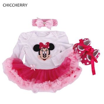 Newborn Clothes Minnie Baby Gir Lace Dress Cartoon Infant Romper Tutu Headband Sets Vestido Princesa Infantil Toddler Outfits