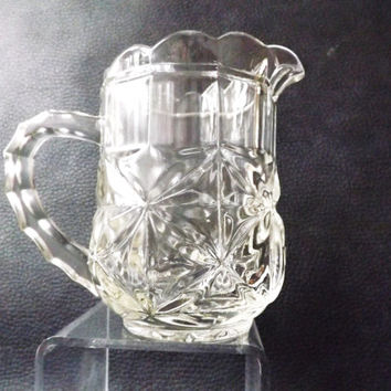 Vintage Heavy Pressed Glass Creamer / Small Pretty Milk Jug / Afternoon Tea / Wedding Table / Hostess Gift / Vintage Country Kitchen