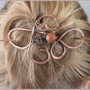 Copper Bun Wrap with Goldstone Bead, Wire Wrapped Bun Pin, Hair Slide, Hair Pin, Hair Barrette, Hair Jewelry, Copper Swirls, Hammered
