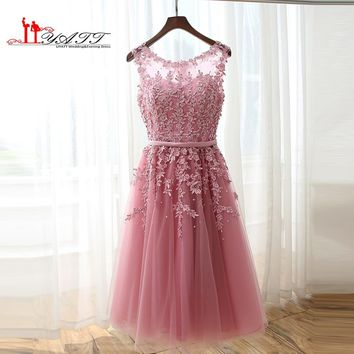 New Cheap Pink Lace Bridesmaid Dresses 2016 A-line illusion Jewel Neck Knee Length Party Prom Gowns Robe De Soiree