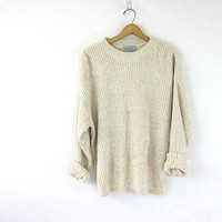 Vintage off white sweater. long ribbed sweater. cotton + linen preppy sweater. textured knit pullover. preppy chic sweater. Large