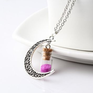 New Fashion Moon Jewelry Silver Chain Statement Necklace Lovely Girl Wishing Bottle Colour BeadsNecklaces & Pendants For Women