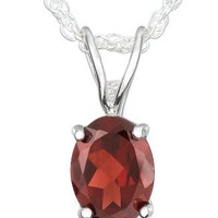 Sterling Silver Oval Garnet Pendant Necklace