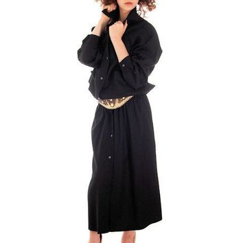 Vintage Vuokko Suomi Finland Black Wool Dropped Waist Dress 1970s