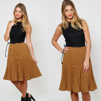 Vintage 80s HOUNDSTOOTH Dress PLEATED Checked Dress Sleeveless New Wave Dress BELTED Dress Printed Day Dress
