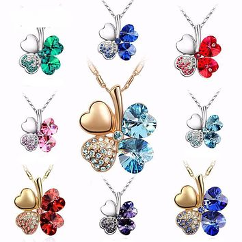 Clover Heart Pendant Necklace