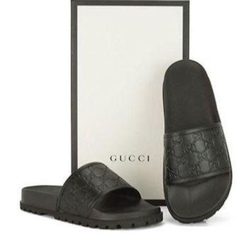 Black Red Grey Gucci Trending Fashion Men And Women Stars Print Casual Sandal Slipper Shoes