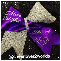 Shine Bright Like a Diamond  Rhinestone Bow Ribbon Cheer Dance