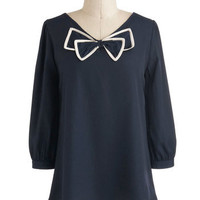 ModCloth Vintage Inspired Mid-length 3 Bow Tied and True Top