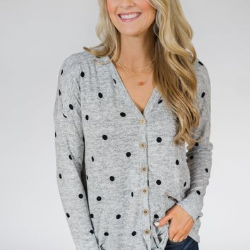 Happy Ending Polka Dot Knot Top- Heather Grey