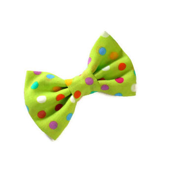 Neon green bow - mini fabric bows - 4 inch hairbow with yellow orange red purple white polka dots - on a french barrette or alligator clip