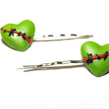 Zombie stiched heart Hair Bobbypin Hair candy