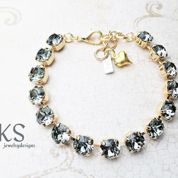 Black Diamond, Swarovski Crystal Bracelet, 8mm, Bridal, Sparkle, Adjustable, DKSJewelrydesigns, FREE SHIPPING