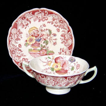 Vintage Red Transferware Polychrome Dual Handled Cream Soup Bowl and Plate Royal Doulton Pomeroy Urn with Flowers