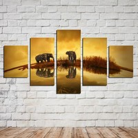 AtFipan 5 Panel Canvas Painting High quality HD Price Great Art African Elephant Pictures Modular Modern Home Decor Unframed