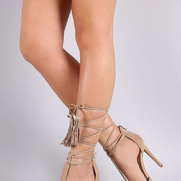Shoe Republic LA Pointy Toe Tassel Lace-Up Pump