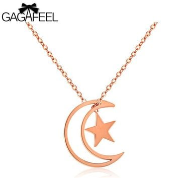 GAGAFEEL Clavicle Chain Pendant Necklace For Women Moon & Star Choker Necklaces Rose Gold Color With Extend Link Chain Dropship