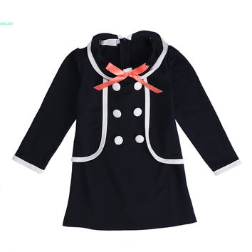 Kids girls children Bowknot Faux Two Piece One-piece Girl's Dresses long-sleeve dress Easter