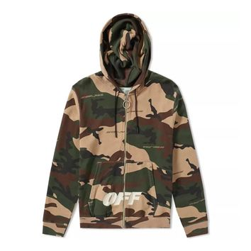 All-Over Camo Zip-Hoodie by OFF-WHITE