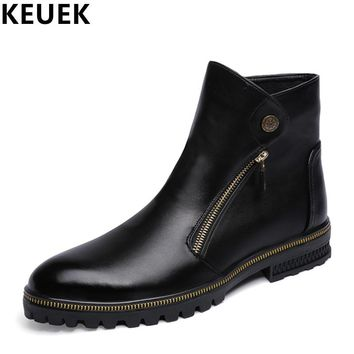 Autumn Winter Men Martin boots Zipper Male shoes Fashion Genuine leather Pointed Toe Ankle Motorcycle boots 03