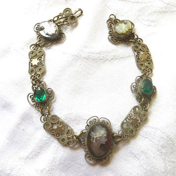 Antique Filigree Cameo Bracelet, Wirework Filigree, Shell Cameos, Emerald Glass Stones, Vintage Cameo Jewelry