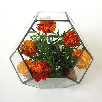 Medium stained glass terrarium/Polyhedron/Geometric planter
