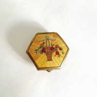 Art Deco, Double Compact by Houbigant of Paris, Enamel Top and Guilloché Bottom, Circa 1930's, Vintage Flower Basket Compact
