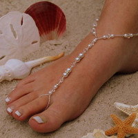 Barefoot Sandal - Simply Elegant Swarovksi Crystals and  White Pearls and Silver Beads, Destination Wedding, Beach Wedding