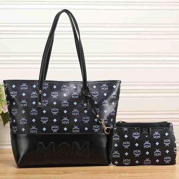 Mcm Women Leather Handbag Tote Shoulder Bag Clutch Bag Set Two Piece