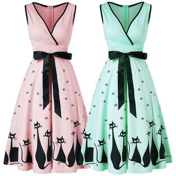 Plus Size Women Dress Cat Print Midi Fit and Flare Dress Swing Vintage  Dress Sexy V-Neck Sleeveless A-Line Dress