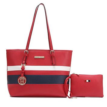Tommy Higher Women Fashion Leather Handbag Tote Shoulder Bag Satchel Set Two Piece