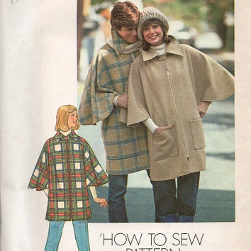 Simplicity Sewing Pattern 1970s Poncho Raincoat Cape Zipper Front Wide Collar Coat Jacket One Size Uncut FF