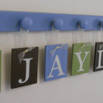 Wooden Letters Nursery Personalized Wall Decorations Set for JAYDEN with TRAINS and 8 Wood Pegs  Baby Boy Wall Art
