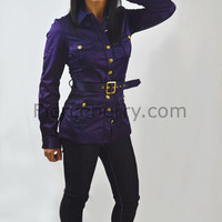 Petite Buttoned down solid color belted blazer