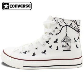 DCCK8NT white converse all star hand painted canvas shoes women men design bird cage sneakers